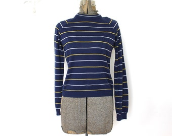 60s Knit Sweater / 1960s Navy Blue Striped Sweater