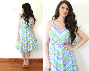 70s Chevron Striped Fit and Flare Dress / 1970s Colorful Stripes Sundress Sun Dress