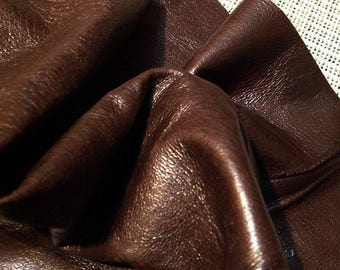 full hide - golden brown leather - Italian leather supplies - genuine sheepskin lamb leather, sheep leather (L-15)