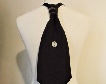 Men's cravat tie made with vintage formal black KIMONO silk crape KAMON family crest black and white fits 15 -20inch ready to ship