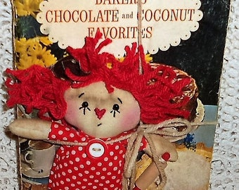 Handmade Lil' Chocolate and Coconut Bakin' Raggedy Annie Doll & Vintage Baker's Chocolate and Coconut Cookbook HAFAIR