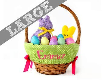 Large Personalized Easter Basket Liner for oversized baskets - Green Tiny Dots - Basket not included - Jumbo Size