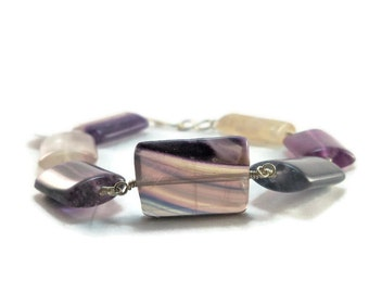 Rainbow Flourite Argentium Sterling Silver Chunky Bracelet