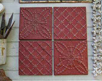 "Tin ceiling tiles, SET  12"" x 12"" framed tiles.  Antique Architectural salvage.  Red Metal Wall Art. 10th Anniversary."
