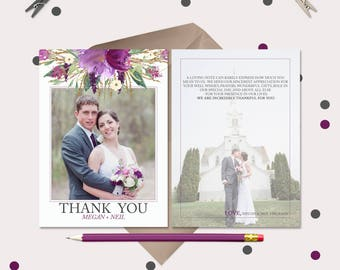 Purple Watercolor Floral Wedding Thank You Cards · Pre-Printed Thank You Message · 2 photos