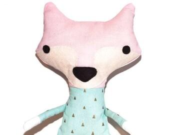 Stuffed animal   Plush fox   Cute design   Tiny print fabric   Pink cotton pastel color applique detail