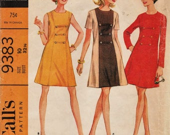 McCalls 9383 / Vintage 60s Sewing Pattern / Dress / Size 10