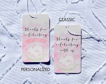 Printable Pink Bunny Baby Shower Favor Tags - Classic and Personalized Options