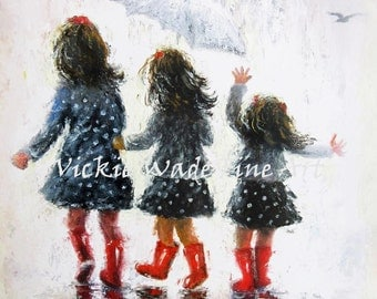 Three Sisters Art Print, three girls paintings, three rain sisters, sisters paintings, girls room wall art, childrens art, Vickie Wade Art
