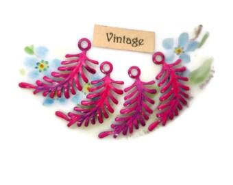 Enamel Metal Leaves Findings Connectors Embellishments Ferns Vintaj Brass Fastenables Fern Art Nouveau Loop PINK. #568F