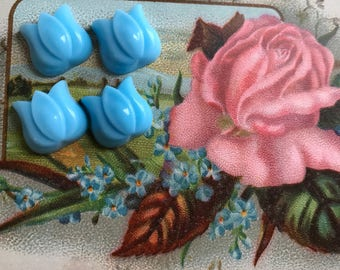 Shabby chic Flowers,Vintage Turquoise Glass Tulip,Blue Tulip Cabochons, Blue Glass Flowers Cabochons,Cottage Chic Cabochons, 12mm, #1690