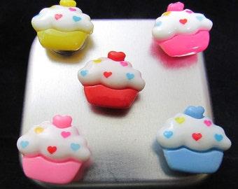 Kawaii cupcake magnets, strong magnets 1 holds 10 papers easily to fridge, neodymium magnets, teacher gift, fridge magnet set, office 613