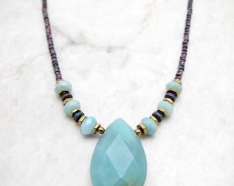 Dainty Boho Necklace. Amazonite Teardrop. Simple Boho Necklace. Amazonite Charm. Mint Gemstone. Modern Boho Necklace. TaraLynEvans. LEOTI