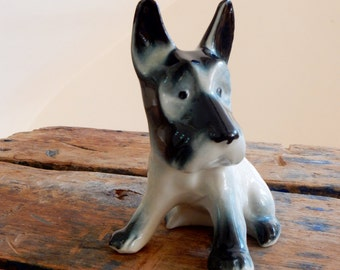 40s Blue Scottish Terrier Ceramic Figurine Tabletop Dresser Prop Collectible Fifties Kitsch