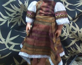 18 inch Doll Dress  Gothic Victorian Titanic brown striped pixie hem   Geechlark ag19