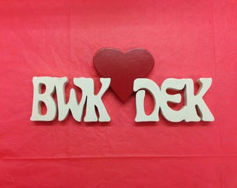 Heart Initials Plaque / anniversary / wedding gift/ Valentine's Day