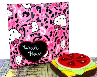Reusable Sandwich Bag | Eco Friendly | Waste Free Lunch Bag | Hello Kitty | Kitty Cat | Chalkboard Applique | Heart Applique | Ready To Ship