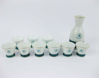 Vintage Sawanotsuru Japan Porcelain 10 Piece Sake Set Teal~White~Gold Trim