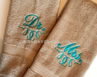 Dr, Mr, or Mrs Monogram + Contemporary Scroll Hand Towel Set of 2 - Mr Mrs Towels wedding gift