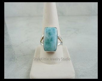 Larimar and 925 Sterling Silver Ring - Size 10 3/4, Rectangular, Blue and White, Natural Volcanic Gemstone, Dominican Republic, Jewelry