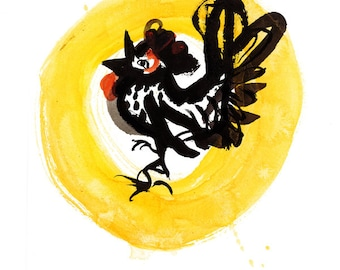 Rooster, Chinese New Year of the Rooster 2017, Original Zen Sumi ink Painting, zen decor, child's nursery wall art, japan art, chicken