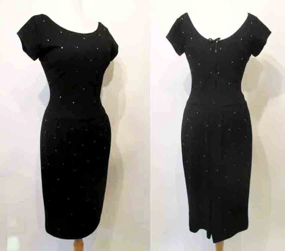 Chic 1950's Designer Black Cocktail Party Dress with Rhinstones Audrey Hepburn Pinup girl Rockabilly Vintage Hollywood Size Small/ Medium