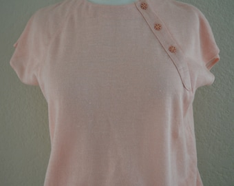 Vintage 1980s KARL LAGERFELD Baby Pink Top Blouse  T-Shirt