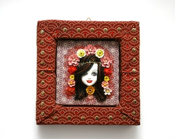 Art Nouveau Maiden, Lady, retro, Doll Frame, mixed media, art, roses, flower, quircky, decor, wall, face, roses, one of a kind, 3D, folk art