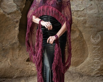 """LAST ONE Specialty: The """"Morgana"""" Hooded Burgundy Lace Cape with Beaded Suede Fringe Trim by Opal Moon Designs (One Size)"""