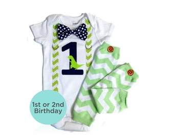 Dinosaur Birthday Outfit. Baby Boy First Birthday Shirt. T-rex dinosaur Theme. Boys 2nd Birthday. Navy Lime Green