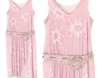 20s Dress * Beaded Silk 1920s Dress * Lavender Floral Flapper Dress * XS