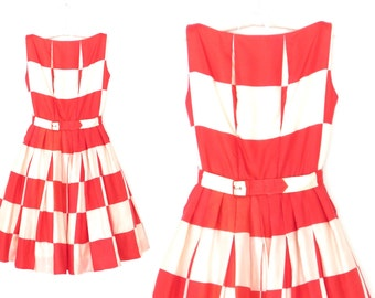 Vintage 50s Dress * 1950s Op Art Dress * Suzy Perette Dress * Party Dress * Small