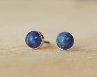 Sodalite Bezel Set Genuine (5mm) Gemstone on Niobium or Titanium Posts (Hypoallergenic & Nickel Free Stud Earrings for Sensitive Ears)