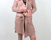 VTg 60s 70s Dusty Rose Vintage Cardigan With Pastel Pink Faux Fur Vegan Collar and Cuffs Festival Boho Chic Vintage Jacket Duster 1970s