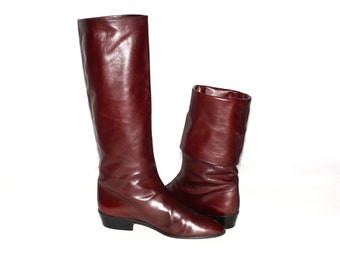 ANNE KLEIN Vintage Lion Label Boots Burgundy Cuff Slouch Booties 9.5N - Authentic -