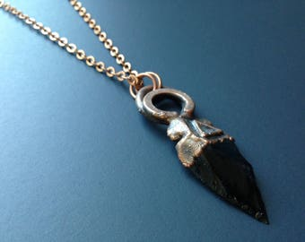 Obsidian Arrowhead Pendant || Fire Element || Alchemical Jewelry || Volcanic Glass Talisman || Copper Amulet