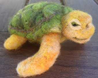 Needle felted animal, felted sea turtle, felted turtle, posable toy, Waldorf inspired, ocean, sea life, Waldorf inspired, Made to order