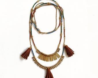 Leather Boho Necklace, Long Beaded Tassel Necklace, Leather Tassel Necklace