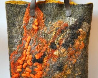 Orange Felt Felted Bag Handbag Purse Nunofelt Nuno Silk Ginger Eco OOAK brown orange ginger ECO nature fantasy Fiber Art