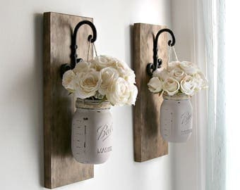 Rustic Sconces-Rustic Wall Decor-Mason Jars Sconce-Farmhouse Sconce-Rustic Home Decor-Wall Hanging Decor-Hanging Mason Jars-Farmhouse Decor