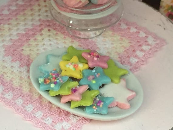 Miniature Cookies, Star Cookies, Cookie Platter, Style 2, Dollhouse Miniatures, 1:12 Scale, Mini Food, Sweets
