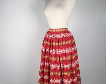 "Vintage 50s Hen & Chick Novelty Skirt, Red, Yellow, White, Woven, Striped, Cotton, XS, W 22"", Folk, Boho, Rockabilly, Patio Skirt, Tourist"