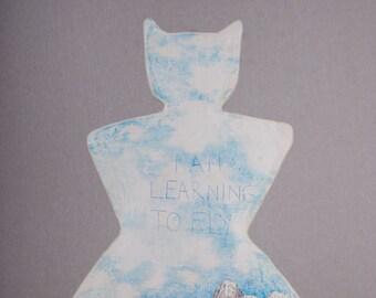 Ceramic Hanging Sculpture, Mixed Media, Air Dry Clay, Skies, Pencil Drawing, Sci Fi, Batman, Spiritual Gift, Art Doll, Ceramics, Kunst