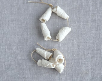 Four porcelain rolled leaf cone beads, 1 mm hole, 2 mm hole, artisan ceramic beads, porcelain beads