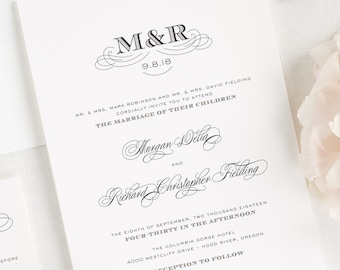 Antique Monogram Wedding Invitations - Sample