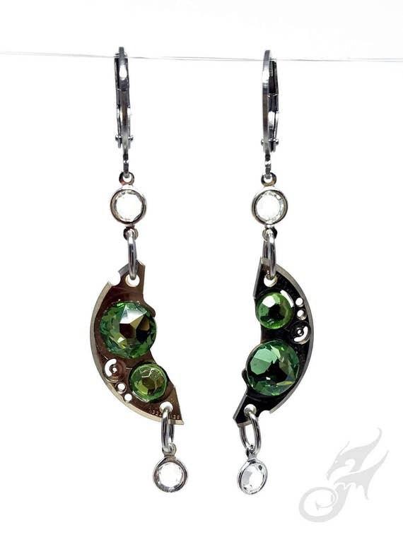 Steampunk Earrings Gearrings ~ Silver Watch Parts, Peridot Rhinestones w/Clear Channel Set Drops, Stainless Steel Lever Back Earrings #E0932