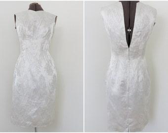 Vintage 1960s Silver Brocade Sleeveless Cocktail Dress - Carol Craig New York - Bust 36 Waist 27 Open Back Wiggle Dress