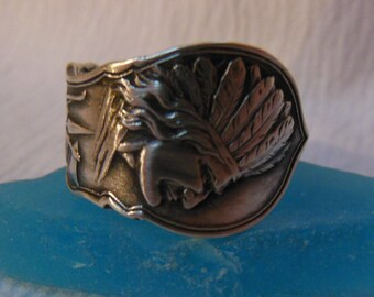 Antique Spoon Ring Native American  Sterling Silver  Size 9