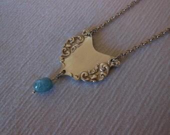 Aquamarine and Silver  Freeform    Antique Fork Necklace