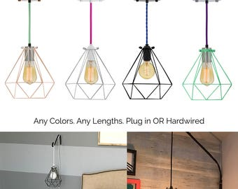 pendant lighting plug in. diamond cage pendant custom color lamp modern industrial light fixture copper mint turquoise pink lighting plug in b